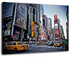 Times Square New York , Format:80x60 cm, Bild auf Leinwand bespannt, riesige XXL Bilder komplett und fertig gerahmt mit Keilrahmen, Kunstdruck auf Wand Bild mit Rahmen, günstiger als Gemälde oder Bild, kein Poster oder Plakat