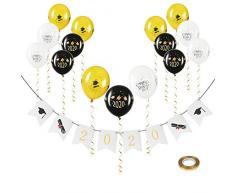 KATOOM 16tlg Abschluss Dekoration Set Herzlichen Glückwunsch Girlande Graduation 2020 Abi Deko mit 15 Gold Schwarz Weiß Luftballons you did it Congrats Days of 2020 Design für Abschlussfeier Abitur