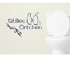 Graz Design 650147_40_070 Wandtattoo Deko für Bad Sprüche Wand Aufkleber Sticker Stilles Örtchen für Ihr WC mit Pinguin 58x40cm Schwarz