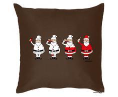 Weihnachten lustige Deko Kissen mit Innenkissen - GLÜHWEIN WEIHNACHTSMANN Advent Geschenk Idee 40x40cm braun : )