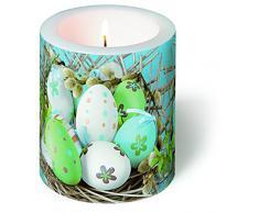 Kerze rund Nature-Loving – Osternest auf Stroh / Ostern / Ostereier Ø 9cm, Höhe 10cm