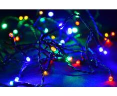 40 LED Lichterkette Innen Außen bunt grünes Kabel mit Trafo Party-Dekoration Weihnachten
