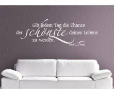 Grandora® W312 Wandtattoo Zitat Gib jedem Tag die Chance... Wohnzimmer Schlafzimmer weiß 120 x 40 cm