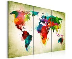 Bilder 120x80 cm - 3 Farben zur Auswahl - XXL Format - Fertig Aufgespannt - TOP - Vlies Leinwand - 3 Teilig - Wand Bild - Kunstdruck - Wandbild - Weltkarte k-A-0006-b-g 120x80 cm B&D XXL