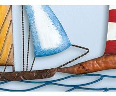 Wand-Objekt Segelboot mit Leuchtturm, Wandbild maritim Wanddekoration