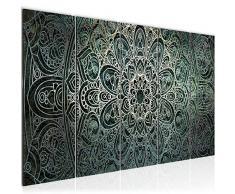 Bilder Mandala Abstrakt Wandbild 200 x 80 cm Vlies - Leinwand Bild XXL Format Wandbilder Wohnzimmer Wohnung Deko Kunstdrucke Grün 5 Teilig - MADE IN GERMANY - Fertig zum Aufhängen 109455a