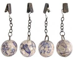 Esschert Design 12 Stück (3 x 4 Stück) Tischtuchgewicht, Tischdeckenhalter aus Keramik in blau-weiß, Ø ca. 3,2 cm