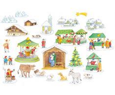 Rica im Weihnachtsdorf: Folien-Adventskalender (Adventskalender mit Geschichten für Kinder / Ein Buch zum Vorlesen und Basteln)
