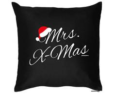Weihnachten Geschenk Idee Kissen mit Innenkissen - Mrs. Xmas Advent liebe Deko Nikolaus 40x40cm schwarz : )