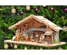 Großer ÖLBAUM-Weihnachtskrippe-Krippenstall 70 cm K70-MFig-BRK-Set ca. 70 cm breit, mit LED-Licht + Holzbrunnen + Dekor, Massivholz historisch braun - mit 12 x PREMIUM-Krippenfiguren + Engel -