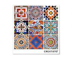 Fussboden-Fliesen dekorativ | Deko-Fliesenaufkleber Balkonfolie Dekorfolie-Boden Fußboden Deko | 10x10 cm Muster Ornament Portugiesische Fliesen - 9 Stück