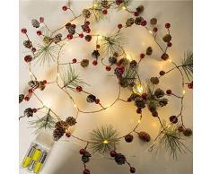 LED-Weihnachtslichter, Gmore rote Beere Weihnachtsgirlande-Lichter LED kupferne feenhafte Lichter, wirkliche Pinecone-Kettenlichter für Weihnachtsfeiertags-Baum und Hauptdekoration