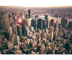 1art1 68307 New York - Blick Auf Manhattan Vom Empire State Building Poster Leinwandbild Auf Keilrahmen 120 x 80 cm