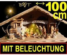 Riesen Krippe Weihnachtskrippe + Zubehör, BTV ca. 100 x 50 cm Design massiv Vollholz Massivholz mit Krippenfiguren + 12 Figuren + Laterne Beleuchtung: LICHT KOMPLETT MIT Trafo + BELEUCHTUNGSSET + Krippen für Weihnachten aus Holz