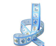 20 m Dekoband/Schleifenband/Geschenkband Natale blau für Taufe/Geburt Junge/Baby