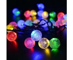 lederTEK, Solar Lichterkette Kugel 6m 30 LED Außenlichterkette Wasserdicht mit Lichtsensor Weihnachtsbeleuchtung, Beleuchtung für Haushalt, Außen, Garten, Hochzeit, Weihnachten(mehrfarbig)