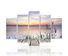 Feeby Frames, Leinwandbild, Bilder, Wand Bild - 5 Teile - Wandbilder, Kunstdruck TypA, 120x250 cm, ANSICHT, MARITIME, STEGANLAGE,