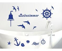 Graz Design 770077_100x57_049 Wandtattoo Set Badezimmer Ahoi Maritim mit Muscheln und Delfine 100x57cm Königsblau