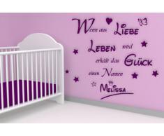 XL Wandtattoo mit Namen Ihres Kindes - fürs Kinderzimmer ~ Wandspruch: Wenn aus Liebe, Leben wird mit Krone und Sternen - Babyname Jungen oder Mädchen ~ 68028-120x100 cm Wandaufkleber Wandtatoos Sticker Aufkleber für die Wand,