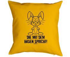 Geschenk zu Ostern Kissen mit Innenkissen für das Osternest lustiges Motiv OSTERHASE CARTOON 40 x 40 cm in gelb : )
