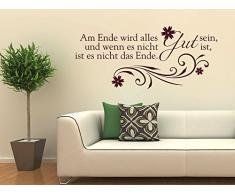 Graz Design 720455_57_080 Wandtattoo Wandaufkleber Wand Deko Spruch Am Ende wird alles Gut Ornament (Gre=127x57cm//Farbe=Braun)