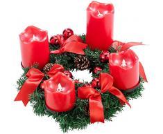 Britesta Tannenkranz: Adventskranz, rot, 4 rote LED-Kerzen mit bewegter Flamme (Weihnachtskranz)