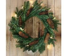com-four® künstlicher Weihnachtskranz, Adventskranz in grün mit ECHTEN Tannenzapfen, Ø 45 cm, 67 Spitzen, Tannenkranz mit Zapfen für Weihnachten oder als Grabschmuck (001 Stück - Kranz mit Zapfen)
