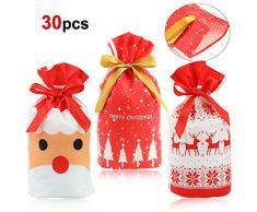 HOWAF 30 stücke Weihnachtstüte Kordelzug Partytüten geschenktüten Kindergeburtstag tüten adventskalender Süßigkeiten Taschen Mitgebsel Beutel für Kinder Verpacken