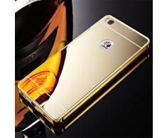 LUXUS Aluminium Metall Spiegel Mirrow Bumper Case Back Cover Tasche Schutz Hülle für Huawei Mate 8 - Luxury Gold ▄▀▄▀▄