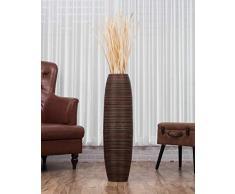 Leewadee Große Bodenvase für Dekozweige hohe Standvase Design Holzvase, 25x90 cm, Holz, Braun