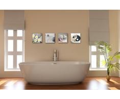Visario Leinwandbilder 6607 Bild auf Leinwand Spa Steine, 4 x 30 x 30 cm, 4 Teile