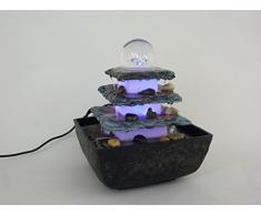Zimmerbrunnen Terrasse eckig Tischbrunnen mit LED farbwechselnd für eine gemütliche, entspannte Atmosphäre, Raumbefeuchter, Dekoration