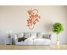 INDIGOS 4051095658856 Wandtattoo / Wandsticker - d152 schöne Blätter Blumen Schmetterling, Vinyl, braun, 40 x 26 x 1 cm
