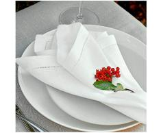 4 x Luxus Stoffservietten FLORENCE-II 43cm x 43cm - mit Feinem Hohlsau - Weiß, 100% Leinen