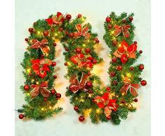 EXQUILEG 2.7m Weihnachtsgirlande Tannengirlande mit Christbaumkugeln,Blume,LED-Lichter und Zubehör Weihnachtsdekoration,Batteriebetrieben (B-Rot)