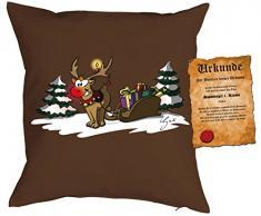Kissen mit Füllung - Weihnachtsmotiv: Rudolph the rednosed reindeer - Set mit Urkunde - By Gali - Farbe: braun - Geschenk - Weihnachten