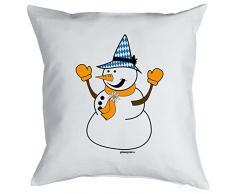 Goodman Design Kissen mit coolem weihnachtsmotiv - Schneemann mit Seppelhut - Geschenk - Zierkissen für Couch und Bett