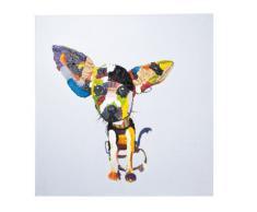 Kare Ölbild Chihuahua, 30785, moderne handbemalte Wandbilder, handgemalter Hund, bunt (H/B/T) 100x100x4cm