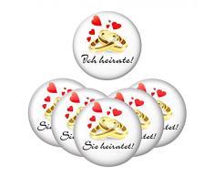 6er SET Ansteck Button - Junggesellenabschied - 1x Ich heirate! und 5x Sie heiratet! - Ø 5,6 cm - weiß - Anstecker - Ansteckbutton