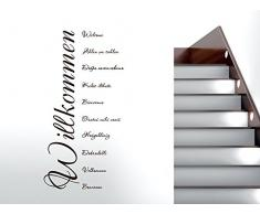 Wandtattoo Wandaufkleber, Spruch Zitat, Willkommen Viele Sprachen, 113 x 57 cm, Schwarz