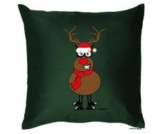 Kissen mit coolem weihnachtsmotiv - Rentier mit Schal und Mütze - Geschenk - Zierkissen für Couch und Bett