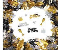 Sweelov Geburtstag Konfetti 100g Happy Birthday Tischkonfetti Sterne Weinglas Kuchen Streudeko für Feier Jubiläum Deko, Schwarz Gold Silber, über 3000 Stück