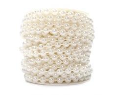 Sepkina Perlenband Perlenkette Perlengirlande Perlenschnur Weihnachten Advent Hochzeit Deko Tischdeko Rolle (S-P6-01-weiss-10m) (0,80€/m)