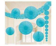 XL Dekoration karibik blau für Party Hochzeit Geburtstag 9 tlg. Girlanden Partydeko