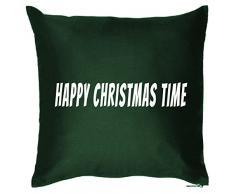 Weihnachten Geschenk Idee Kissen mit Innenkissen - WINTERTIME Advent Deko Nikolaus 40x40cm grün : )