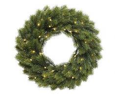 Weihnachtlicher & Hochwertiger LED Tannenkranz/Klassischer Türkranz Beleuchtet - Ø 40cm - Batteriebetrieben - Weihnachtskranz/Hängekranz / Tischkranz - Künstlicher Kranz Tanne - Weihnachten
