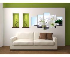 Visario Leinwandbilder 5504 Bild auf Leinwand Blumen, 160 cm, 5 Teile
