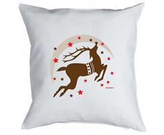 Weihnachten Geschenk Idee Kissen mit Innenkissen - RENTIER STERNE Advent liebe Deko 40x40cm weiß : )