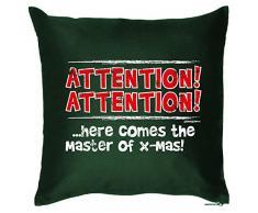 Kissen mit coolem weihnachtsmotiv - Attention ..here comes the Master of X-Mas - Geschenk - Zierkissen für Couch u Bett