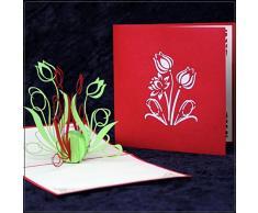 Pop-Up Karte Tulpen Grün & Rot - Blumenkarte, Osterkarte, Gutschein, Geburtstagskarte, 3D Karte, Tulpenkarte, Einladung, Gutscheinkarte, Einladungskarte, Jubiläumskarte, Blumen Karten, Geschenkkarte, Geldgeschenk